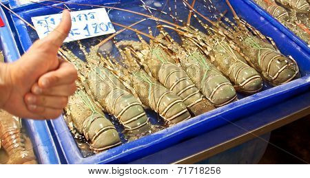 Lobsters At Fish Market In Thailand
