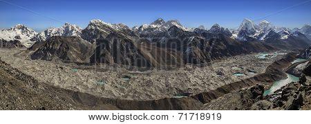 Panoramic View Of Everest Mountain Range From Gokyo Ri, Nepal