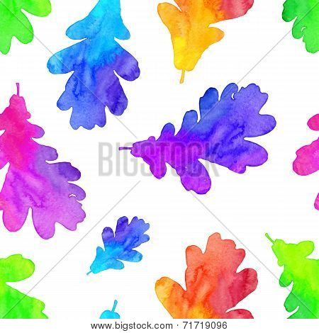Rainbow watercolor painted oak leaves seamless pattern