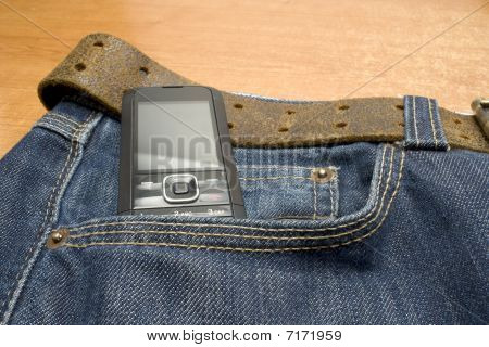 phone on jeans