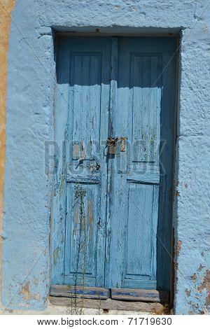 Old Door Of Ruined Home In Kefalos