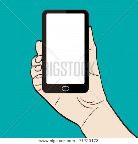 Man hand holding a smart phone on green background