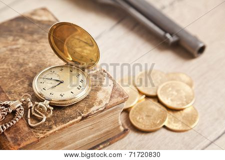 gambling background with cards and golden watch