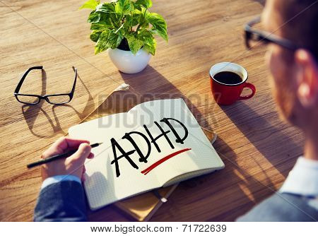 Business Man with Notepad and ADHD Concepts