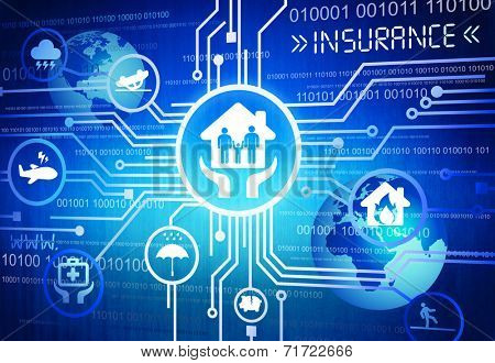 Digitally Generated Image of Insurance Concept