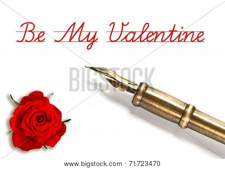 Red Rose And Vintage Ink Pen Isolated On White