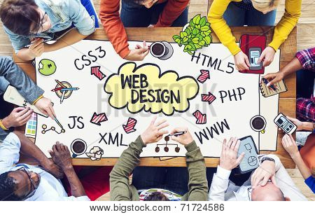 Diverse People Working and Web Design Concept
