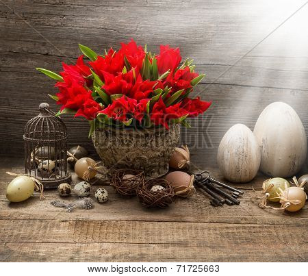 Vintage Easter Composition With Eggs And Red Tulips