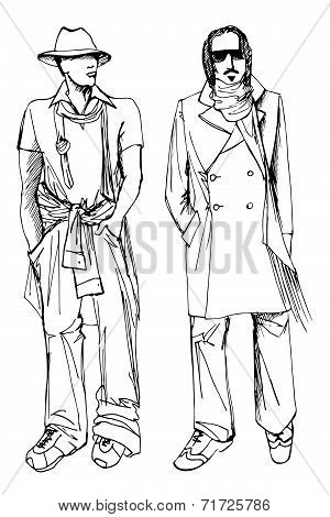 Two stylish dude men .Fashion vector sketch