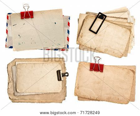 Vintage Papers And Postcards Isolated On White