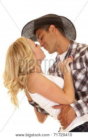 Cowboy Couple Lean Back Kiss