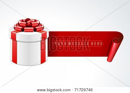 Open gift box with red bow and ribbon vector background.