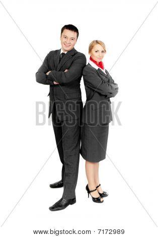 two happy flight attendants