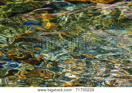 Cristal Clear Water Surface In A Sunny Summer Day