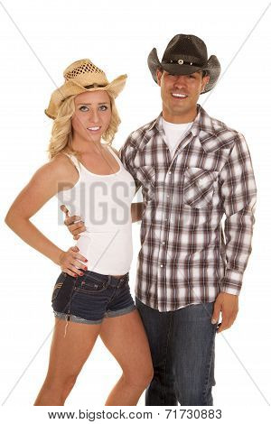 Western Couple Both With Hats