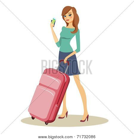 Beauty with travel trolley case on wheels