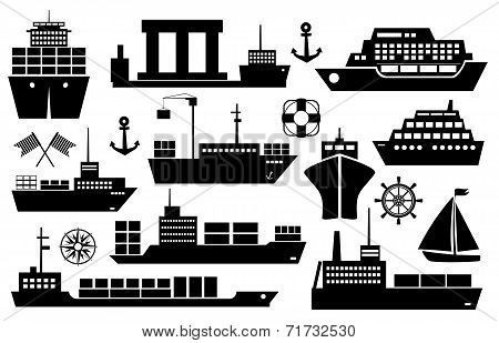 Set of ships and boats icons