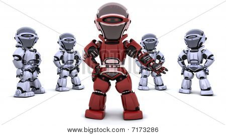 Red Robot Leading A Team