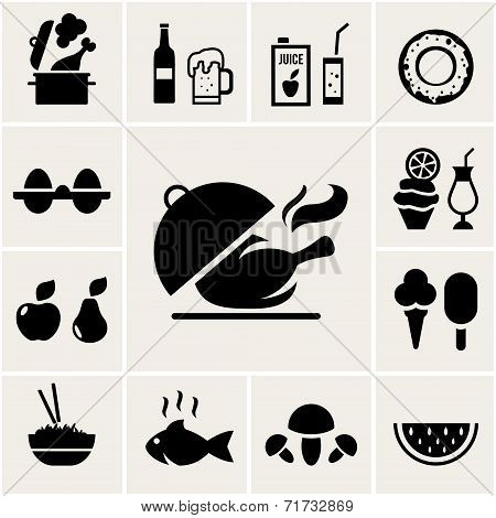 Set of black silhouette food icons