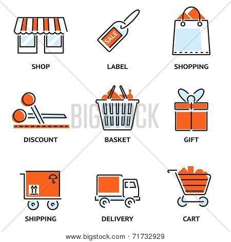Set of shopping and retail outline vector icons