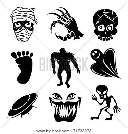 Set of ghost  ghouls and alien icons