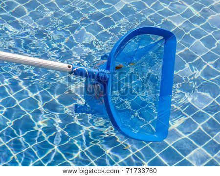 Cleaning And Maintenance Swimming Pool With Cleaning Net, Blue Skimmer.