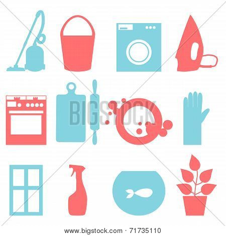 Two-color icons of house cleaning. Vector illustration.