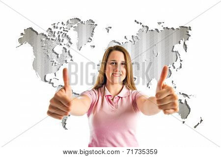 Young Girl Making Ok Sign Over Atlas Background