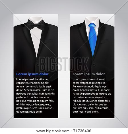 Vector business cards with suit and tuxedo.