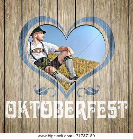 An image of a beautiful wooden heart Oktoberfest