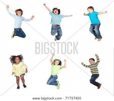 Happy children jumping isolated on a white background