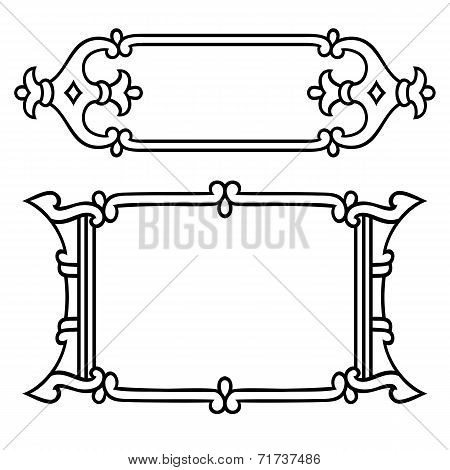 Russian style black ornamental decorative frame