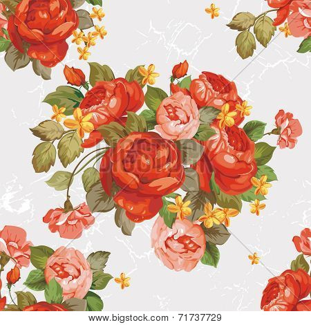 Vintage Flower peonies textured wallpaper. Elegance vector illustration