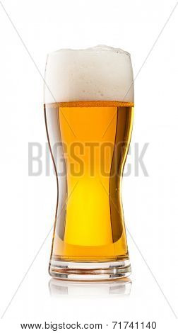 Studio photo of cup of beer isolated on white background