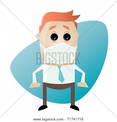 funny cartoon businessman with respirator