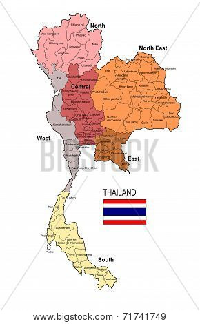 Thailand Region and Province Vector Map