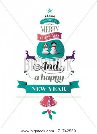Merry christmas vector with text and icons on white background