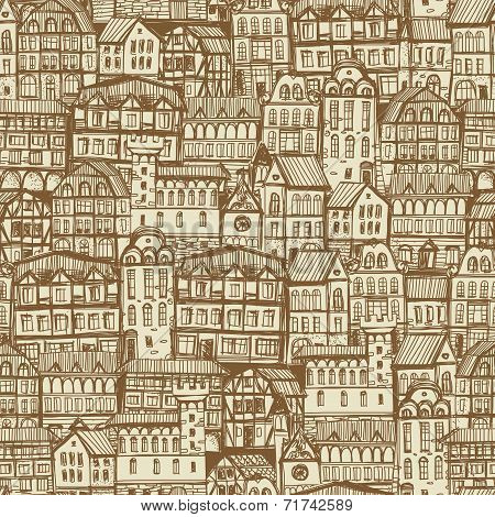 Seamless Hand Drawn Monochrome Pattern With Old City