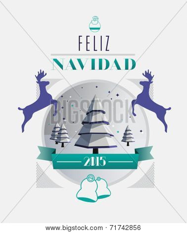 Feliz navidad 2015 message with illustrations on white background