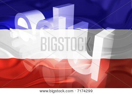 Bandeira da Sérvia e Montenegro educação ondulada