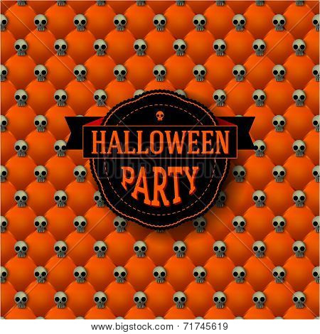 Halloween Party Button-tufted Background With Skulls.