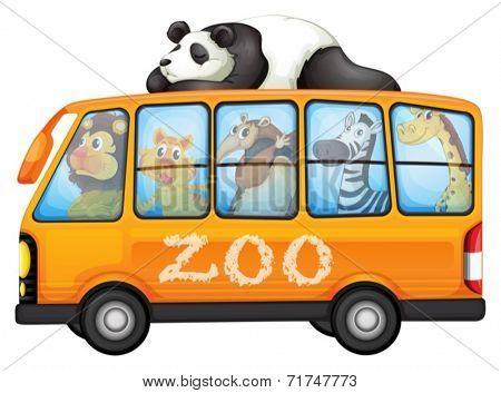 Illustration of a bus full of animals