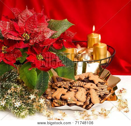 Advent Decoration. Red Flower And Christmas Cookies