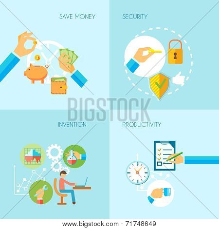 Hand holding objects flat set
