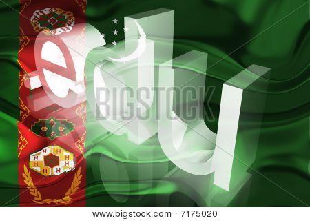 Bandeira do Turquemenistão ondulado educação