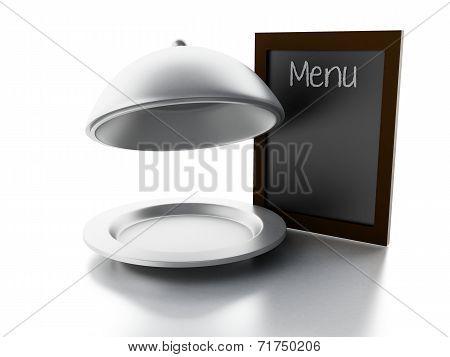 blank menu board, isolated white background