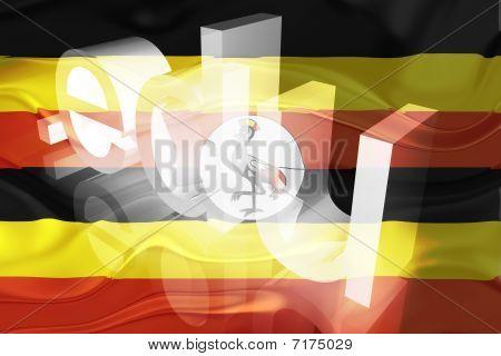 Bandeira de Uganda ondulado educação