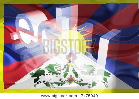 Tibete bandeira ondulada educação