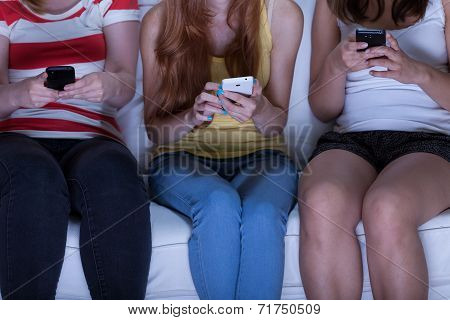 Friends Sending Text Messages