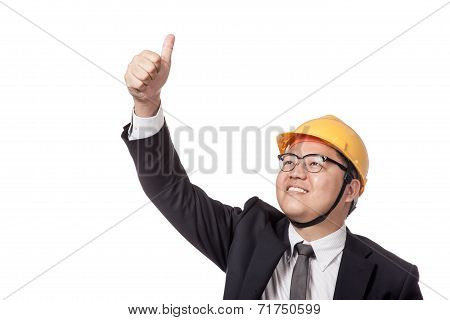 Asian Businessman With Yellow Hardhat Thumbs Up And Smile